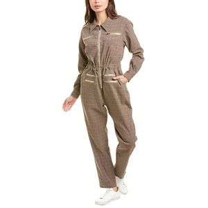 We Wore What | NWT Plaid Tan Utility Jumpsuit
